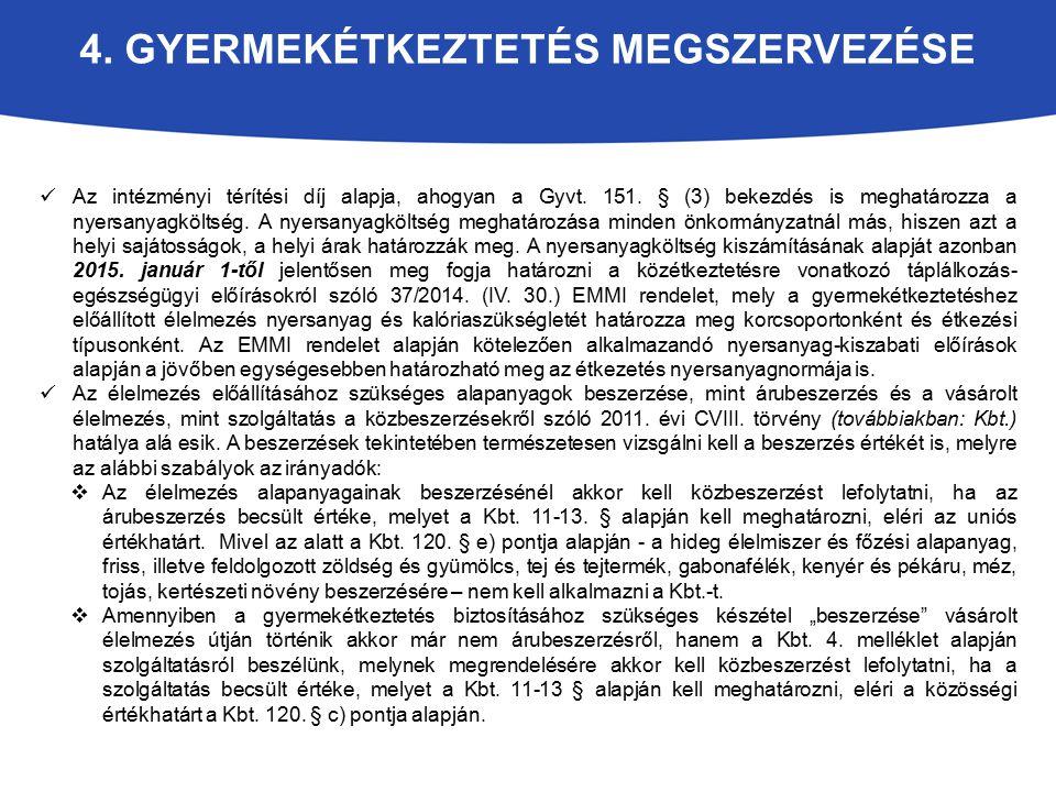 4. GYERMEKÉTKEZTETÉS MEGSZERVEZÉSE Az intézményi térítési díj alapja, ahogyan a Gyvt. 151. § (3) bekezdés is meghatározza a nyersanyagköltség. A nyers