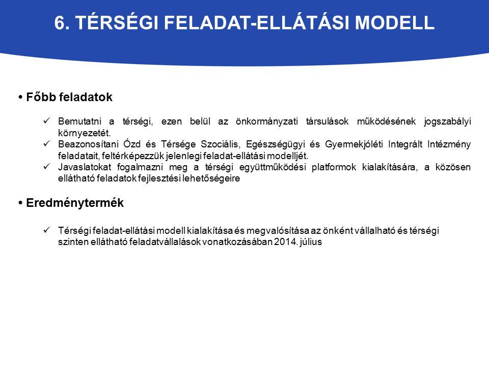 6. TÉRSÉGI FELADAT-ELLÁTÁSI MODELL Főbb feladatok Bemutatni a térségi, ezen belül az önkormányzati társulások működésének jogszabályi környezetét. Bea