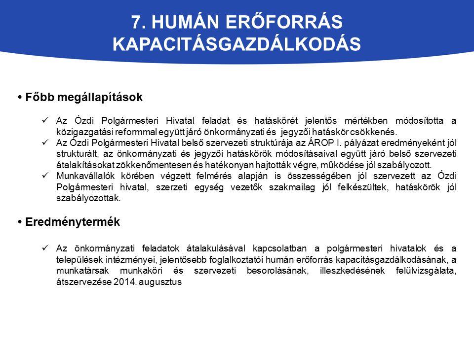 7. HUMÁN ERŐFORRÁS KAPACITÁSGAZDÁLKODÁS Főbb megállapítások Az Ózdi Polgármesteri Hivatal feladat és hatáskörét jelentős mértékben módosította a közig