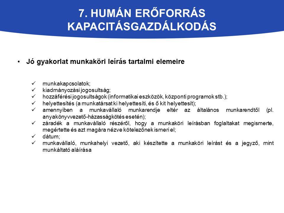 7. HUMÁN ERŐFORRÁS KAPACITÁSGAZDÁLKODÁS Jó gyakorlat munkaköri leírás tartalmi elemeire munkakapcsolatok; kiadmányozási jogosultság; hozzáférési jogos