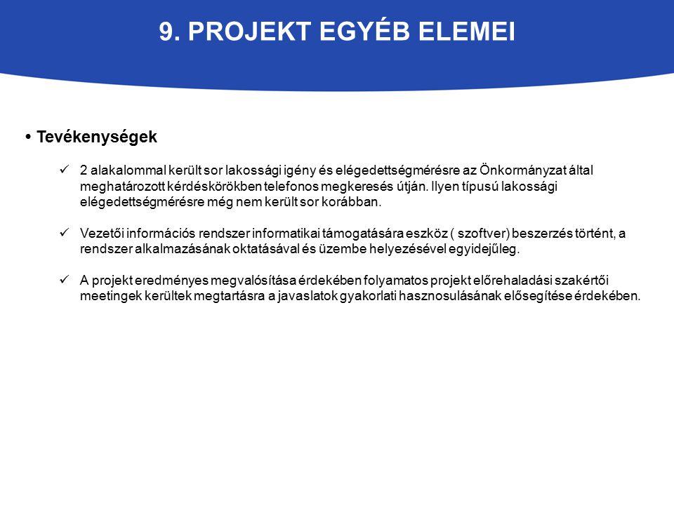 9. PROJEKT EGYÉB ELEMEI Tevékenységek 2 alakalommal került sor lakossági igény és elégedettségmérésre az Önkormányzat által meghatározott kérdéskörökb