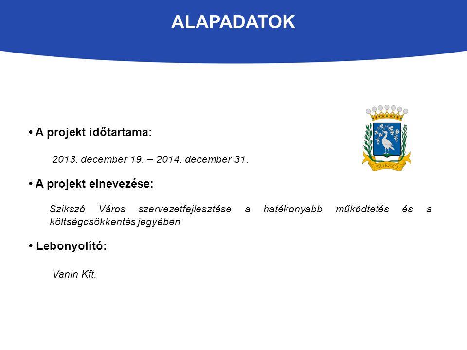 ALAPADATOK A projekt időtartama: 2013.december 19.