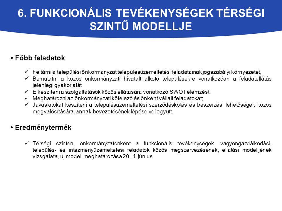 6. FUNKCIONÁLIS TEVÉKENYSÉGEK TÉRSÉGI SZINTŰ MODELLJE Főbb feladatok Feltárni a települési önkormányzat településüzemeltetési feladatainak jogszabályi