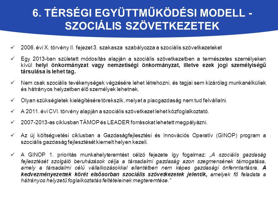 6. TÉRSÉGI EGYÜTTMŰKÖDÉSI MODELL - SZOCIÁLIS SZÖVETKEZETEK 2006. évi X. törvény II. fejezet 3. szakasza szabályozza a szociális szövetkezeteket Egy 20