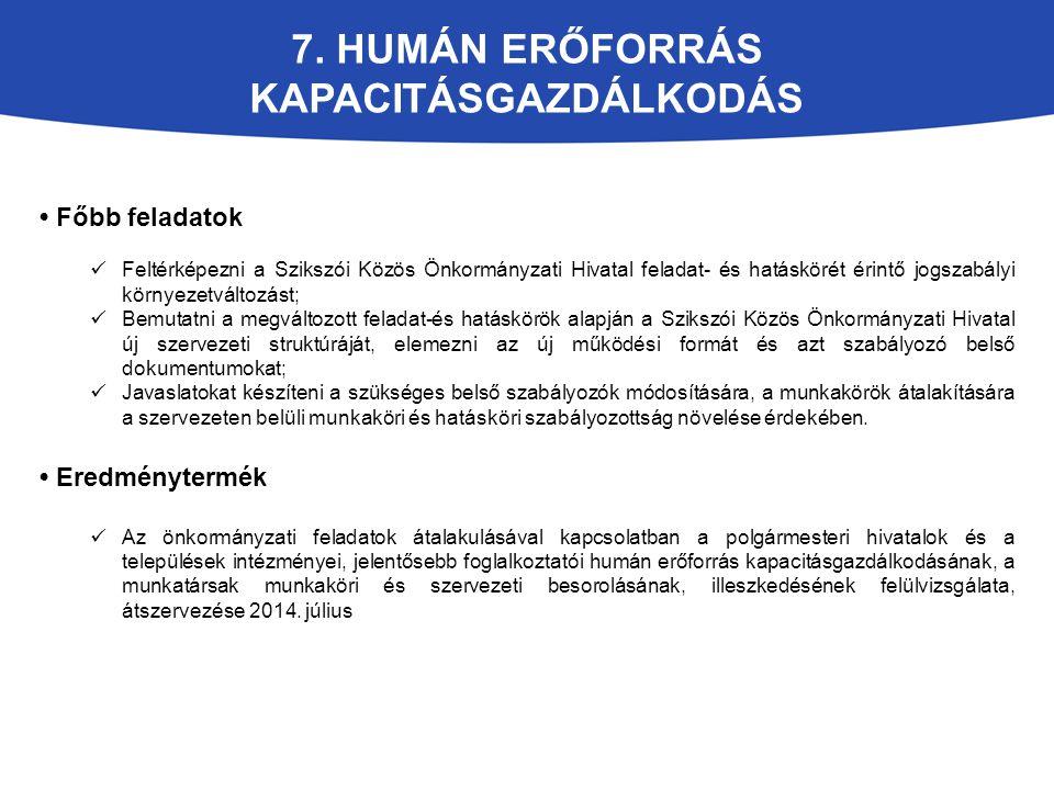 7. HUMÁN ERŐFORRÁS KAPACITÁSGAZDÁLKODÁS Főbb feladatok Feltérképezni a Szikszói Közös Önkormányzati Hivatal feladat- és hatáskörét érintő jogszabályi
