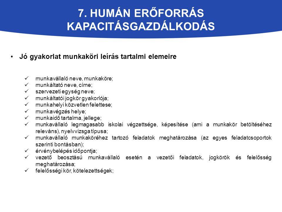 7. HUMÁN ERŐFORRÁS KAPACITÁSGAZDÁLKODÁS Jó gyakorlat munkaköri leírás tartalmi elemeire munkavállaló neve, munkaköre; munkáltató neve, címe; szervezet