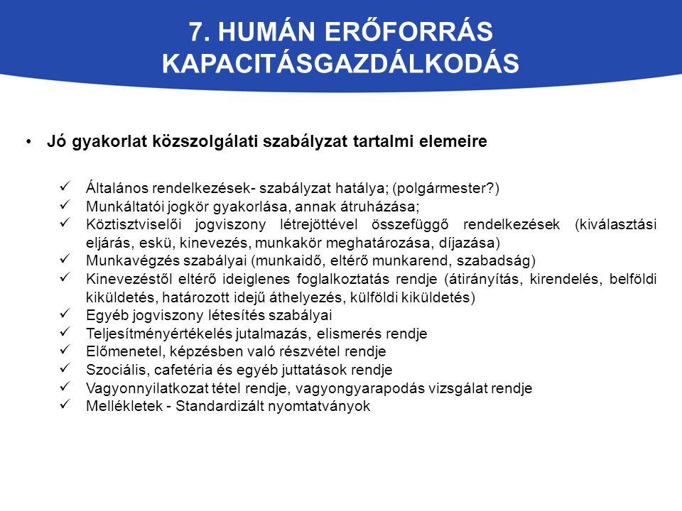 7. HUMÁN ERŐFORRÁS KAPACITÁSGAZDÁLKODÁS Jó gyakorlat közszolgálati szabályzat tartalmi elemeire Általános rendelkezések- szabályzat hatálya; (polgárme