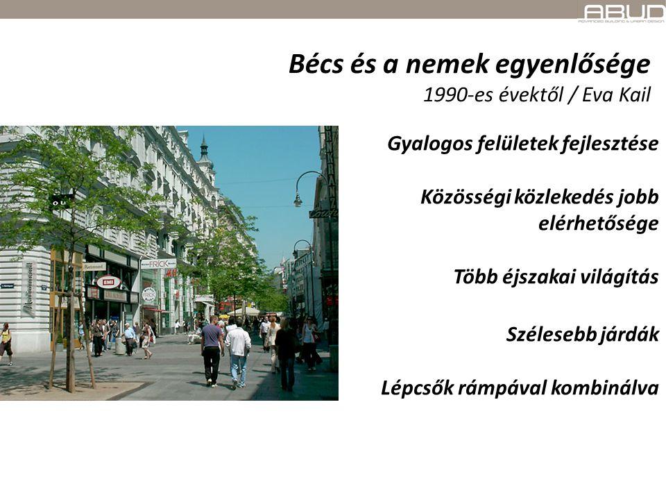 Bécs és a nemek egyenlősége 1990-es évektől / Eva Kail Gyalogos felületek fejlesztése Közösségi közlekedés jobb elérhetősége Több éjszakai világítás S