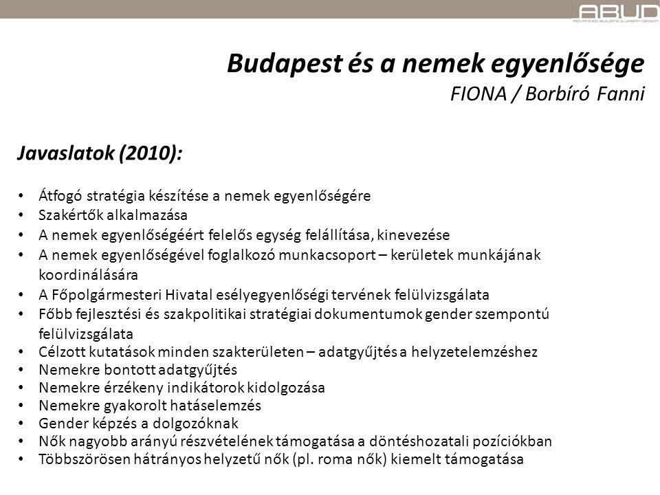 Budapest és a nemek egyenlősége FIONA / Borbíró Fanni Javaslatok (2010): Átfogó stratégia készítése a nemek egyenlőségére Szakértők alkalmazása A neme