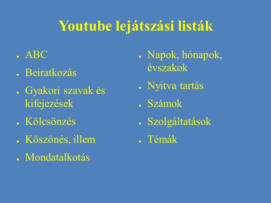 Youtube lejátszási listák ● ABC ● Beiratkozás ● Gyakori szavak és kifejezések ● Kölcsönzés ● Köszönés, illem ● Mondatalkotás ● Napok, hónapok, évszakok ● Nyitva tartás ● Számok ● Szolgáltatások ● Témák
