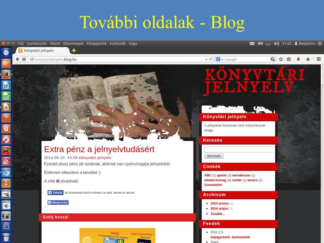 További oldalak - Blog