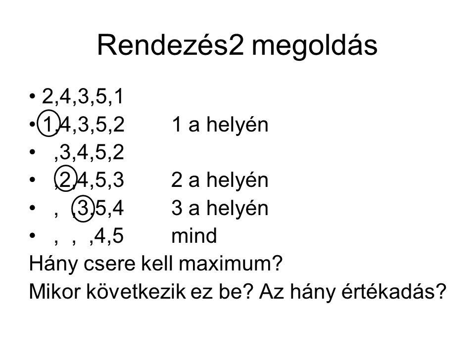 Rendezés2 megoldás 2,4,3,5,1 1,4,3,5,21 a helyén,3,4,5,2,2,4,5,32 a helyén,,3,5,43 a helyén,,,4,5mind Hány csere kell maximum? Mikor következik ez be?