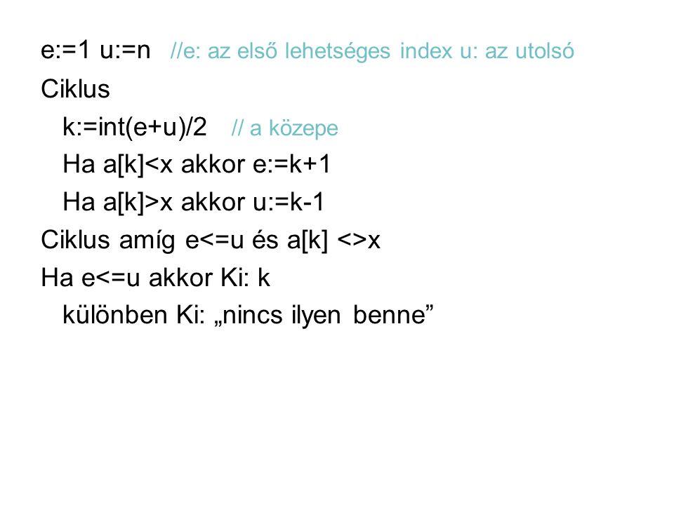 e:=1 u:=n //e: az első lehetséges index u: az utolsó Ciklus k:=int(e+u)/2 // a közepe Ha a[k]<x akkor e:=k+1 Ha a[k]>x akkor u:=k-1 Ciklus amíg e x Ha