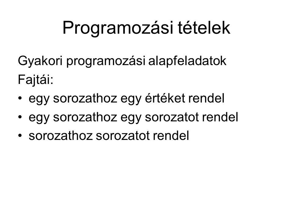 Programozási tételek Gyakori programozási alapfeladatok Fajtái: egy sorozathoz egy értéket rendel egy sorozathoz egy sorozatot rendel sorozathoz soroz