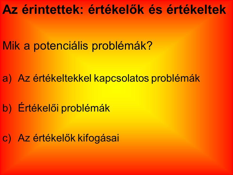 Az érintettek: értékelők és értékeltek Mik a potenciális problémák? a)Az értékeltekkel kapcsolatos problémák b)Értékelői problémák c)Az értékelők kifo