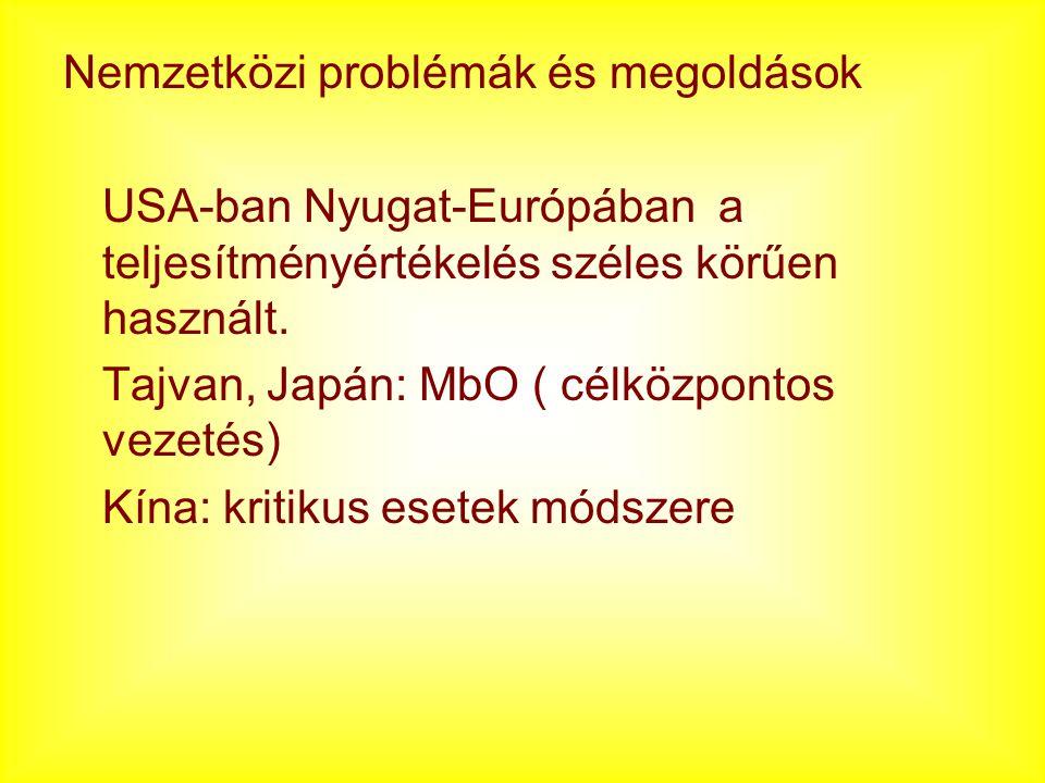 Nemzetközi problémák és megoldások USA-ban Nyugat-Európában a teljesítményértékelés széles körűen használt. Tajvan, Japán: MbO ( célközpontos vezetés)