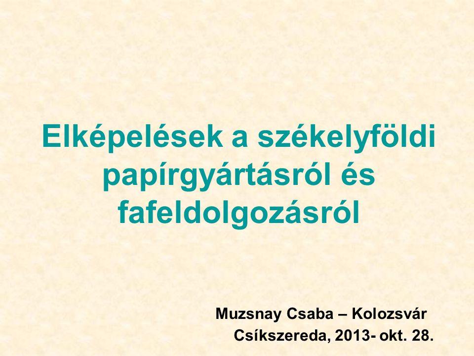 Elképelések a székelyföldi papírgyártásról és fafeldolgozásról Muzsnay Csaba – Kolozsvár Csíkszereda, 2013- okt.
