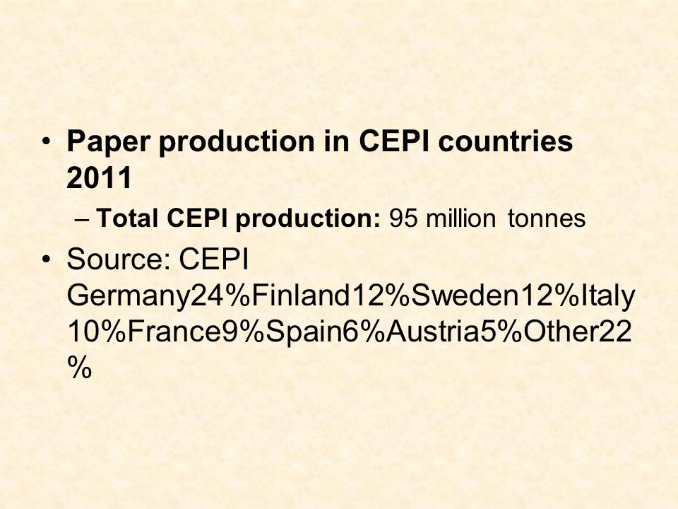 Paper production in CEPI countries 2011 –Total CEPI production: 95 million tonnes Source: CEPI Germany24%Finland12%Sweden12%Italy 10%France9%Spain6%Au