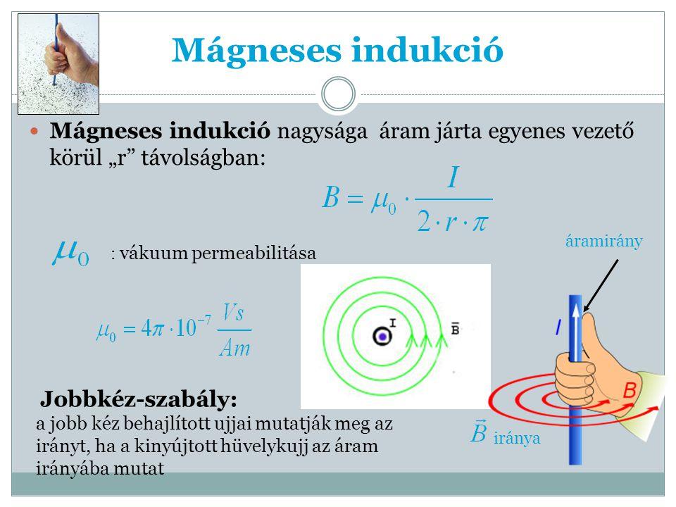 """Mágneses indukció Mágneses indukció nagysága áram járta egyenes vezető körül """"r távolságban: : vákuum permeabilitása áramirány iránya Jobbkéz-szabály: a jobb kéz behajlított ujjai mutatják meg az irányt, ha a kinyújtott hüvelykujj az áram irányába mutat"""