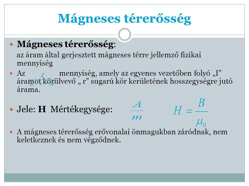 """Mágneses térerősség Mágneses térerősség: az áram által gerjesztett mágneses térre jellemző fizikai mennyiség Az mennyiség, amely az egyenes vezetőben folyó """"I áramot körülvevő """" r sugarú kör kerületének hosszegységre jutó árama."""