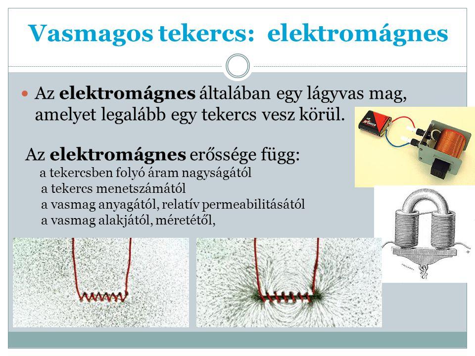 Vasmagos tekercs: elektromágnes Az elektromágnes általában egy lágyvas mag, amelyet legalább egy tekercs vesz körül.