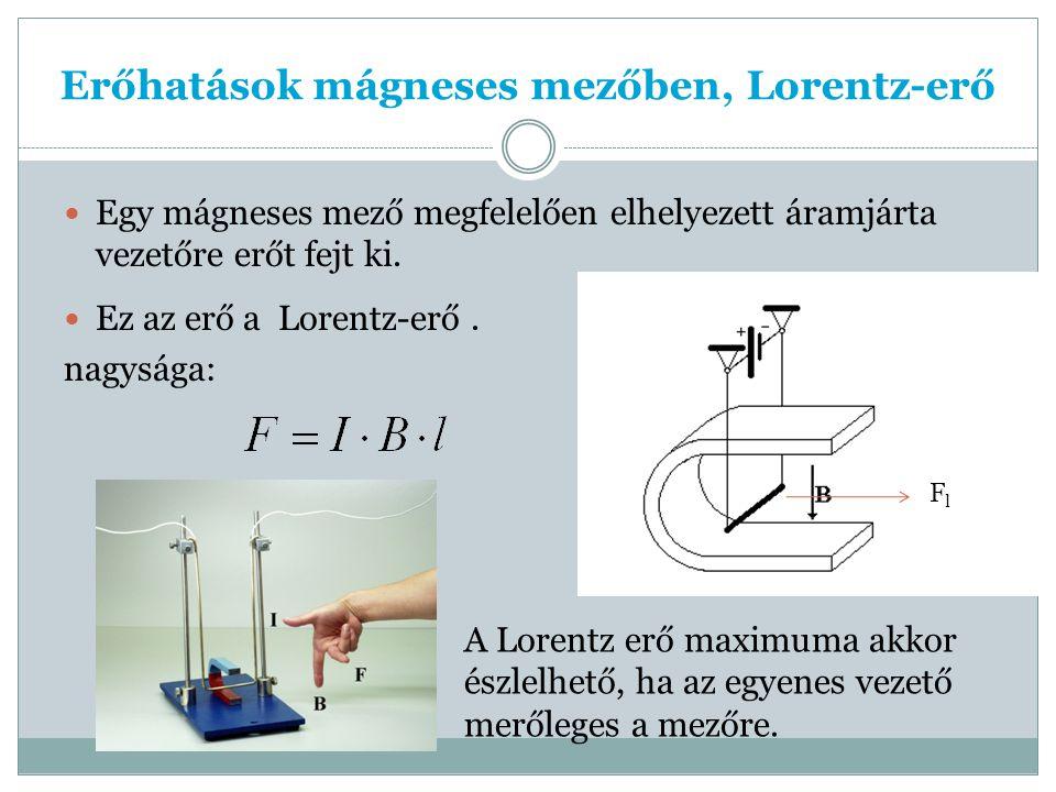 Erőhatások mágneses mezőben, Lorentz-erő Egy mágneses mező megfelelően elhelyezett áramjárta vezetőre erőt fejt ki.