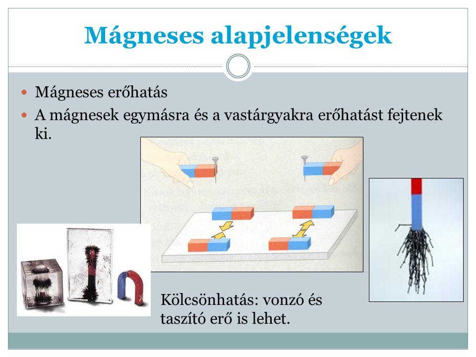 Mágneses alapjelenségek Mágneses erőhatás A mágnesek egymásra és a vastárgyakra erőhatást fejtenek ki.