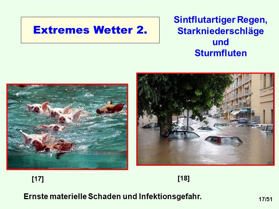 Sintflutartiger Regen, Starkniederschläge und Sturmfluten [17] [18] Ernste materielle Schaden und Infektionsgefahr. Extremes Wetter 2. 17/51
