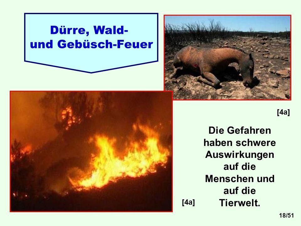 Dürre, Wald- und Gebüsch-Feuer [4a] Die Gefahren haben schwere Auswirkungen auf die Menschen und auf die Tierwelt. [4a] 18/51