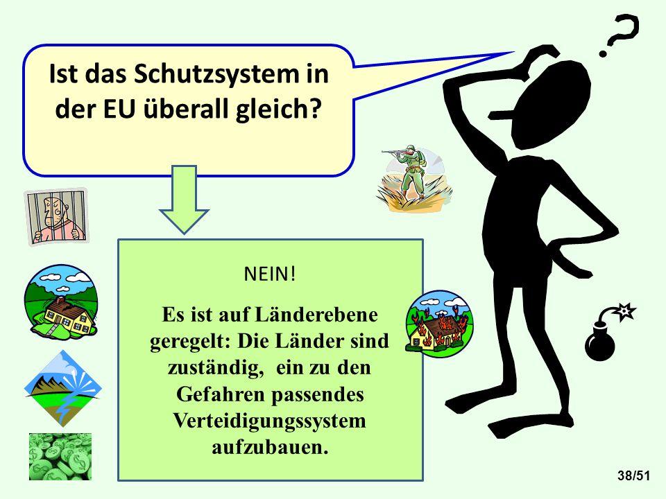 Ist das Schutzsystem in der EU überall gleich? 38/51 NEIN! Es ist auf Länderebene geregelt: Die Länder sind zuständig, ein zu den Gefahren passendes V