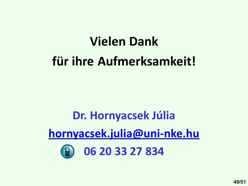 Vielen Dank für ihre Aufmerksamkeit! Dr. Hornyacsek Júlia hornyacsek.julia@uni-nke.hu 06 20 33 27 834 49/51