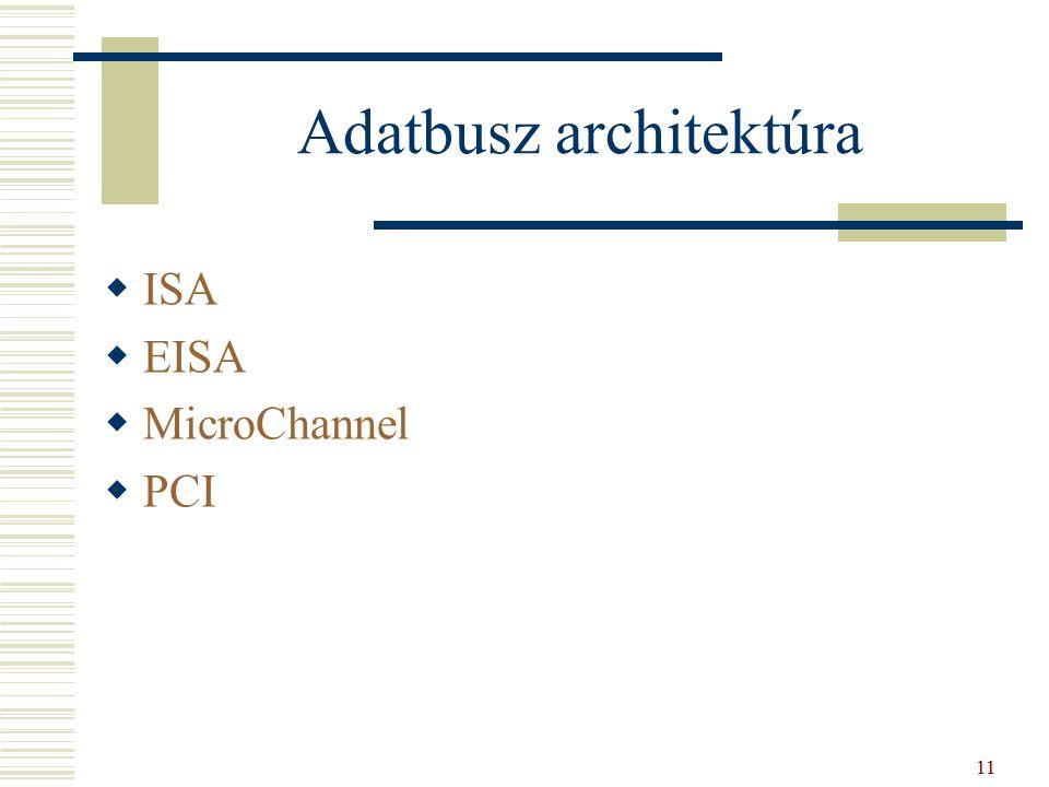 Adatbusz architektúra  ISA  EISA  MicroChannel  PCI 11