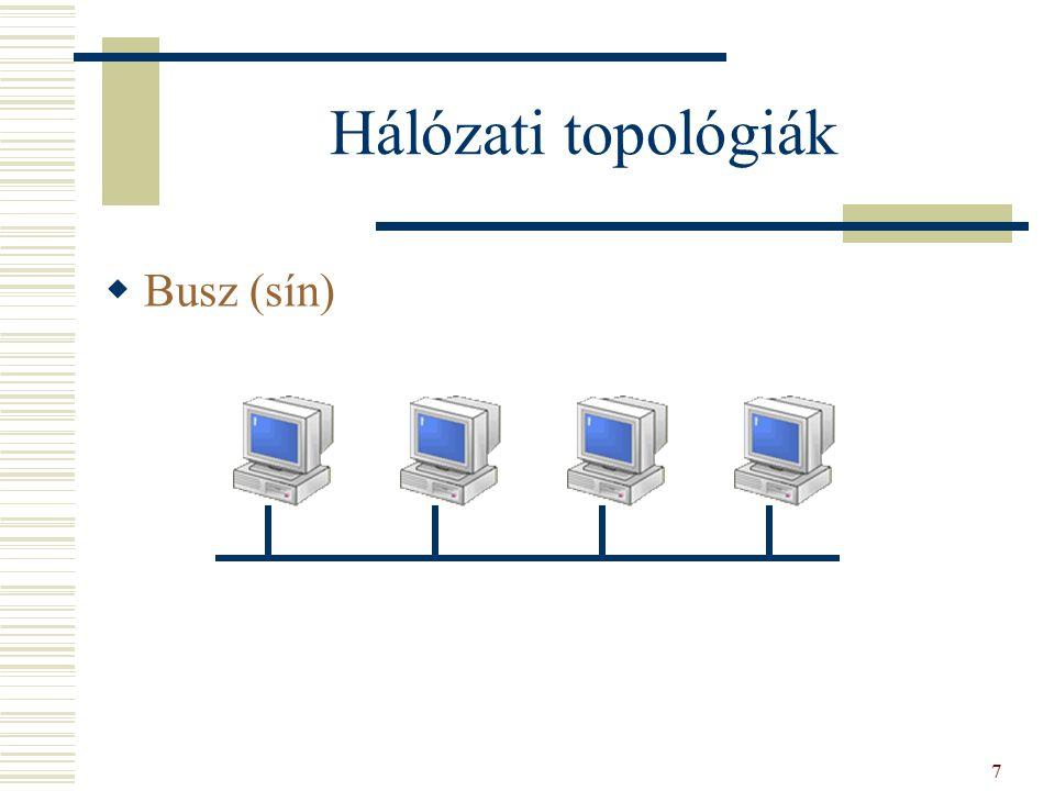 Hálózati topológiák  Busz (sín) 7