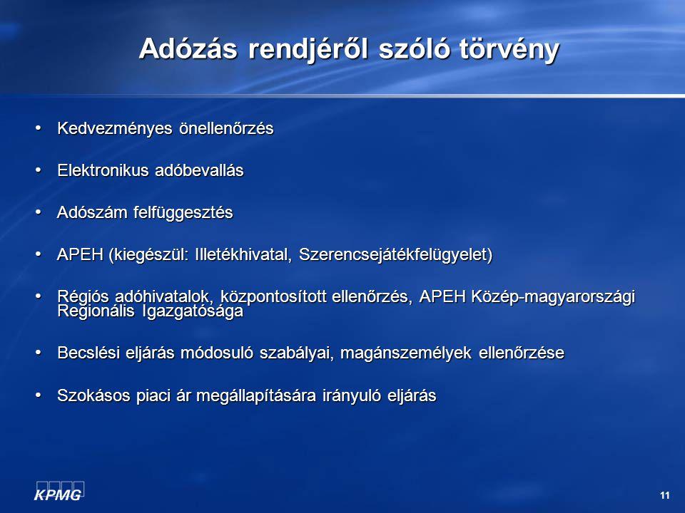 11 Adózás rendjéről szóló törvény Kedvezményes önellenőrzés Kedvezményes önellenőrzés Elektronikus adóbevallás Elektronikus adóbevallás Adószám felfüggesztés Adószám felfüggesztés APEH (kiegészül: Illetékhivatal, Szerencsejátékfelügyelet) APEH (kiegészül: Illetékhivatal, Szerencsejátékfelügyelet) Régiós adóhivatalok, központosított ellenőrzés, APEH Közép-magyarországi Regionális Igazgatósága Régiós adóhivatalok, központosított ellenőrzés, APEH Közép-magyarországi Regionális Igazgatósága Becslési eljárás módosuló szabályai, magánszemélyek ellenőrzése Becslési eljárás módosuló szabályai, magánszemélyek ellenőrzése Szokásos piaci ár megállapítására irányuló eljárás Szokásos piaci ár megállapítására irányuló eljárás