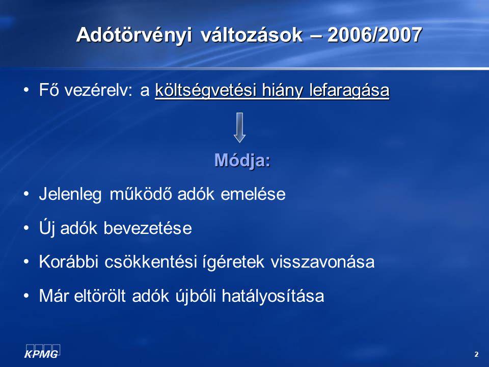 2 Adótörvényi változások – 2006/2007 költségvetési hiány lefaragása Fő vezérelv: a költségvetési hiány lefaragásaMódja: Jelenleg működő adók emelése Ú