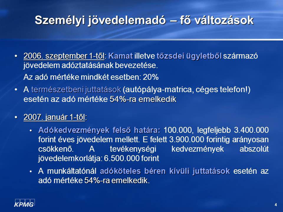 4 Személyi jövedelemadó – fő változások 2006. szeptember 1-től: Kamattőzsdei ügyletből 2006. szeptember 1-től: Kamat illetve tőzsdei ügyletből származ