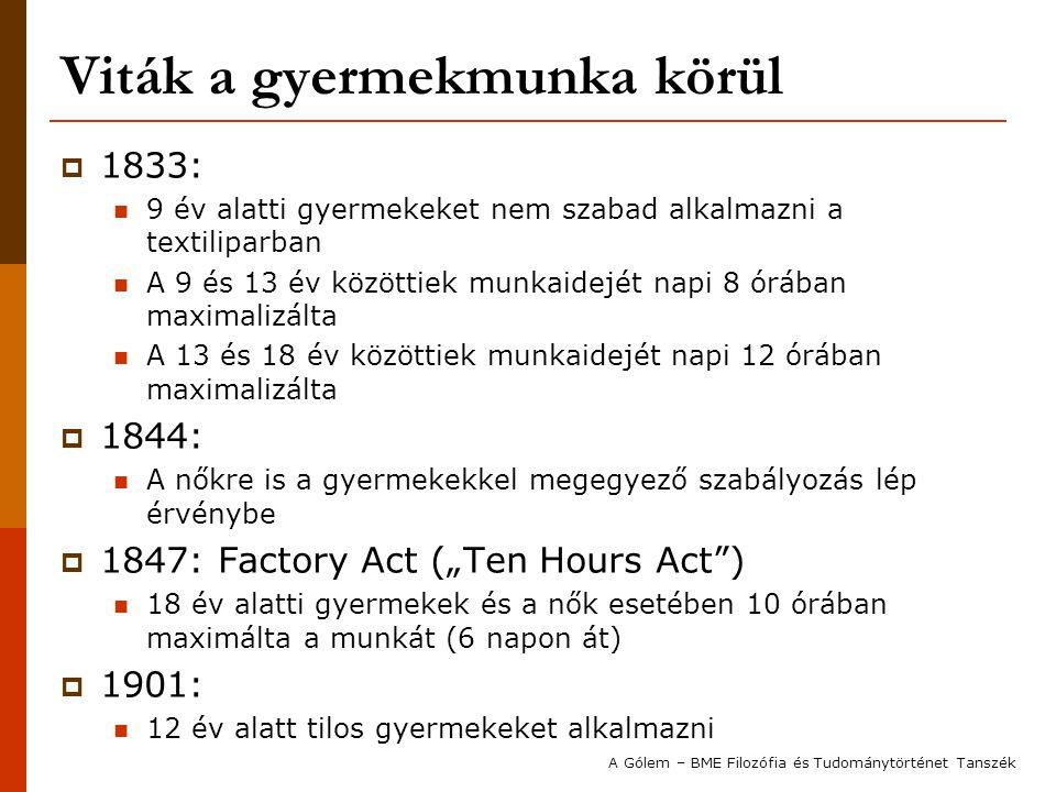 Viták a gyermekmunka körül  1833: 9 év alatti gyermekeket nem szabad alkalmazni a textiliparban A 9 és 13 év közöttiek munkaidejét napi 8 órában maxi