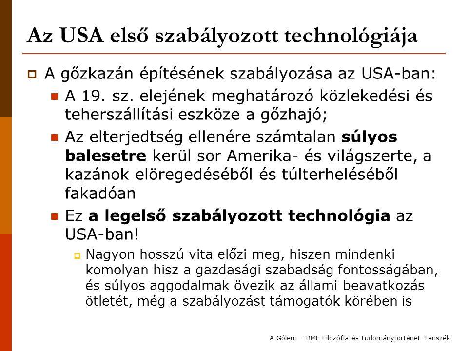 Az USA első szabályozott technológiája  A gőzkazán építésének szabályozása az USA-ban: A 19. sz. elejének meghatározó közlekedési és teherszállítási