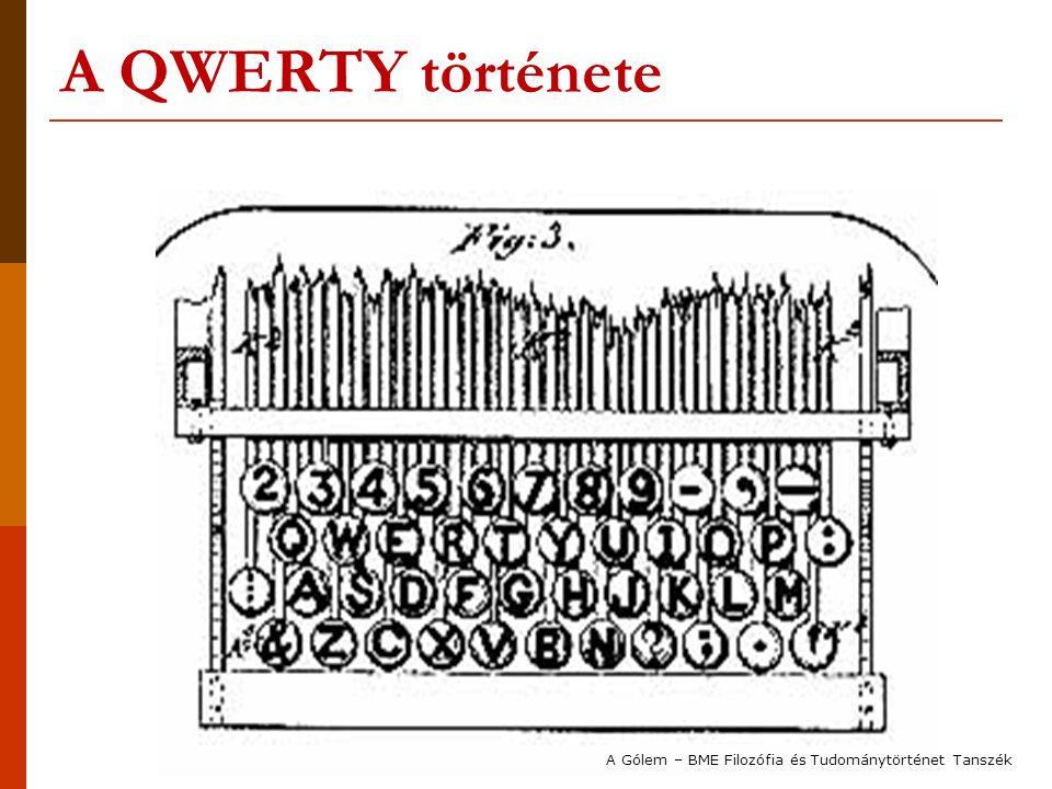A QWERTY története A Gólem – BME Filozófia és Tudománytörténet Tanszék