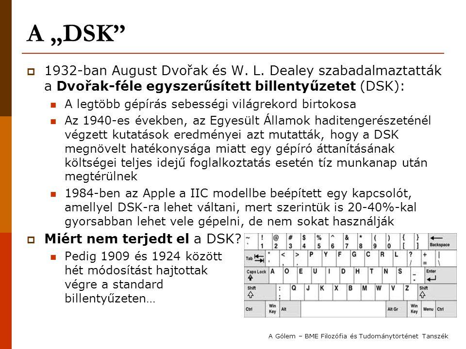 """A """"DSK""""  1932-ban August Dvořak és W. L. Dealey szabadalmaztatták a Dvořak-féle egyszerűsített billentyűzetet (DSK): A legtöbb gépírás sebességi vilá"""