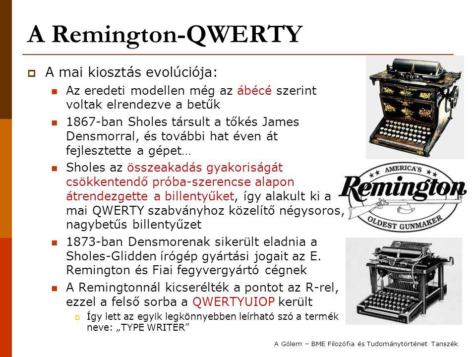 A Remington-QWERTY  A mai kiosztás evolúciója: Az eredeti modellen még az ábécé szerint voltak elrendezve a betűk 1867-ban Sholes társult a tőkés Jam