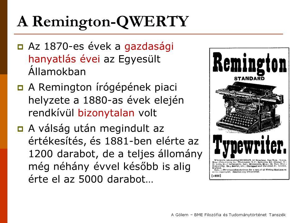 A Remington-QWERTY  Az 1870-es évek a gazdasági hanyatlás évei az Egyesült Államokban  A Remington írógépének piaci helyzete a 1880-as évek elején r