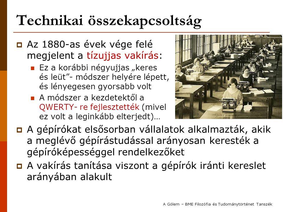 """Technikai összekapcsoltság  Az 1880-as évek vége felé megjelent a tízujjas vakírás: Ez a korábbi négyujjas """"keres és leüt""""- módszer helyére lépett, é"""