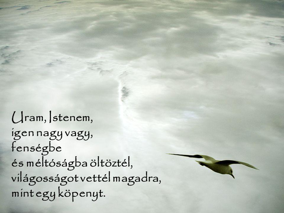 Õ az, aki sátorként feszítette ki az eget, palotáját a vizek fölé építette, a felhõket tette kocsijává, szelek szárnyán jár.