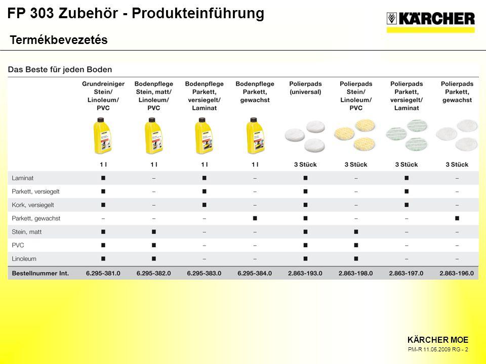 FP 303 Zubehör - Produkteinführung KÄRCHER MOE PM-R 11.05.2009 RG - 2 Termékbevezetés