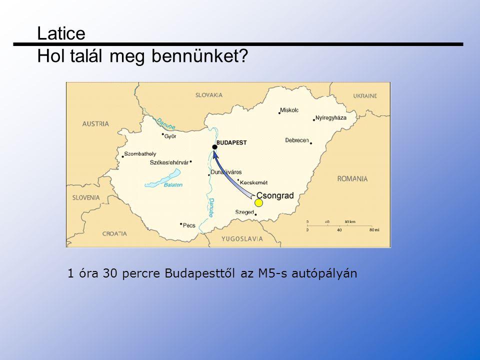 Latice Hol talál meg bennünket? 1 óra 30 percre Budapesttől az M5-s autópályán