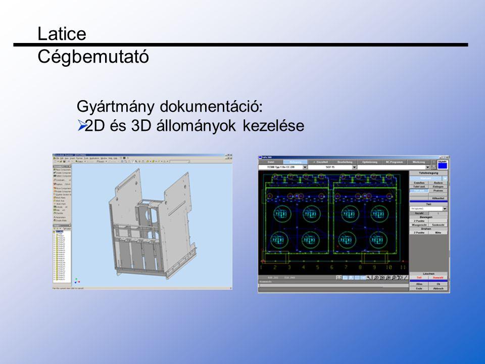 Gyártmány dokumentáció :  2D és 3D állományok kezelése Latice Cégbemutató