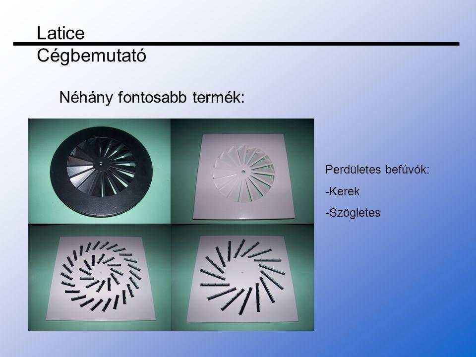 Légtechnikai rácsok: -Kerek befúvók -Ajtó rácsok -Ajtó rácsok szűrökkel -Szögletes befúvók Latice Cégbemutató