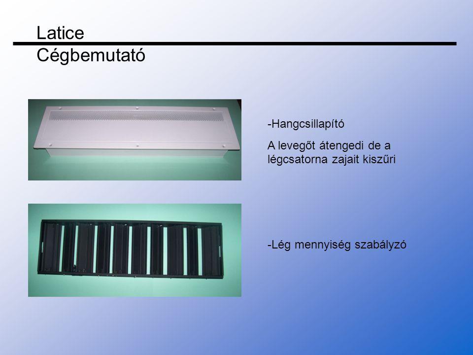 -Hangcsillapító A levegőt átengedi de a légcsatorna zajait kiszűri -Lég mennyiség szabályzó