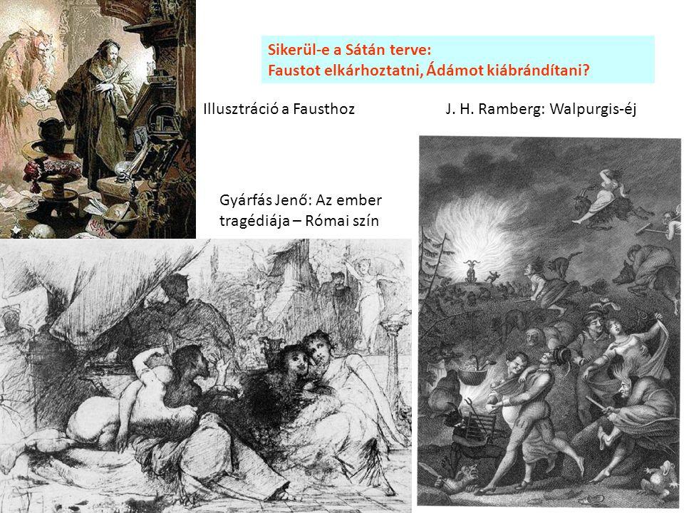 Gyárfás Jenő: Az ember tragédiája – Római szín J. H. Ramberg: Walpurgis-éj Sikerül-e a Sátán terve: Faustot elkárhoztatni, Ádámot kiábrándítani? Illus